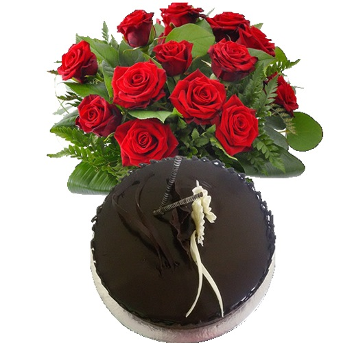 Chocolate Cake with 20 Red Roses