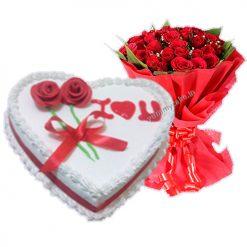 1/2 Kg Heart Shape Vanila Cake with 20 Mix Roses