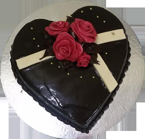 1 Kg Heart Shape Chocolate Cake