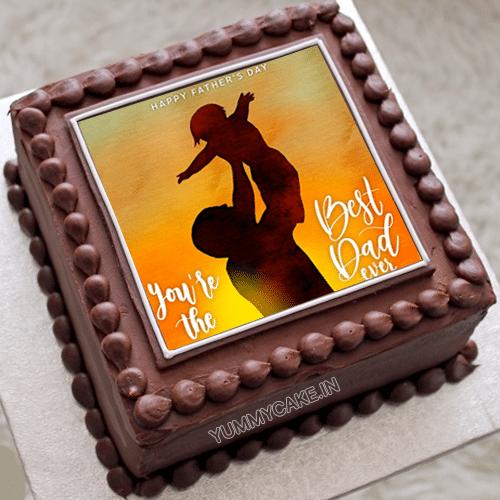 Fathers Day Chocolate Photo Cake